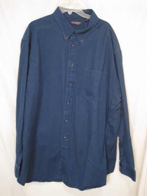 indigo denim button shirt sleeve 3x 3xl 3xb big