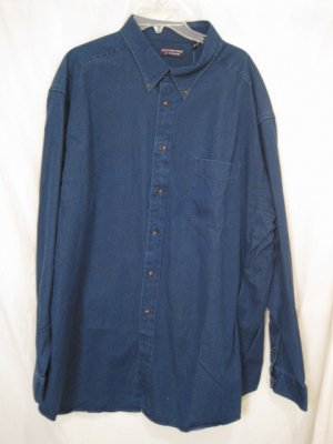 Indigo Denim Button Down Shirt Long Sleeve 3X 3XL 3XB Big Tall Mens Clothing 938211