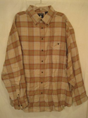 Tan Flannel Button Down Shirt Long Sleeve 2XLT 2XT Big Tall Mens Clothing 938541 2
