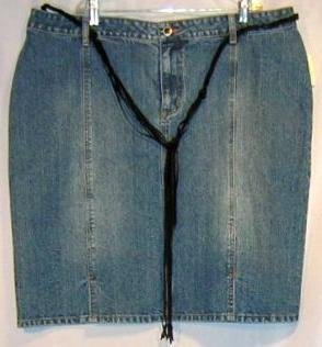 New Denim Jean Belt Belted Skirt Size 18w 18 Plus Size Women Clothing 490121