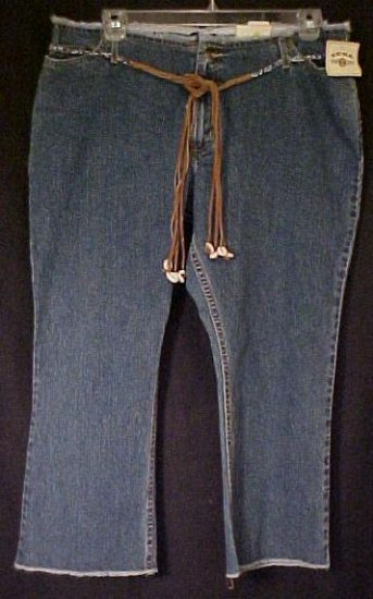 New Zena Frayed Denim Jeans Capris Pants Belt Size 22 22w Plus Size Women Clothing  490061