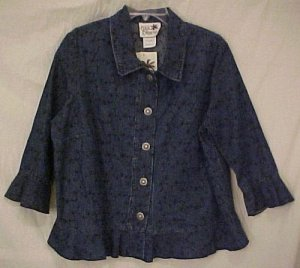 New 2 piece Embroidered Denim Jean Dress Jumper Jacket 1X Plus Size Women Clothing H400061-4