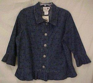 New 2 piece Embroidered Denim Jean Dress Jumper Jacket 1X Plus Size Women Clothing H400061-4
