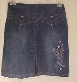 New Denim Jean Embroidered Skirt Girls Plus Size 14.5  Plus Size Girls Wear 400071-2