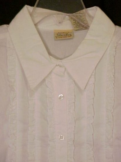 New White Tuxedo Ruffle Shirt Size 2X 18W 20W Plus Size Women 400151