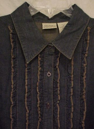 New Long Sleeve Blue Denim Ruffle Tuxedo Shirt Size 2X Plus Size Women 400171