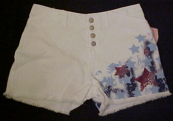 New White Denim Jean Star Shorts 10.5 10+ Girls Plus Size 400251