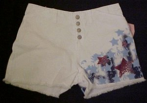 New White Denim Jean Star Shorts 14.5 14+ Girls Plus Size 400261