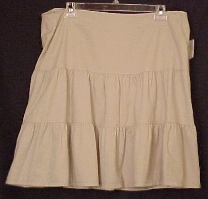 NEW Khaki Stone Tiered Skirt Khaki Size 22 22W Plus Size Women Clothing 400281