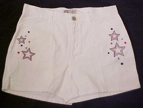 New White Denim Jean Embroidered Shorts Sz 14.5 14+ Girls Plus Size  400291