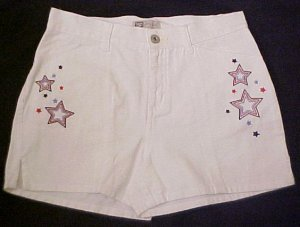 New White Denim Jean Embroidered Shorts Sz 12.5 12+ Girls Plus Size 400301