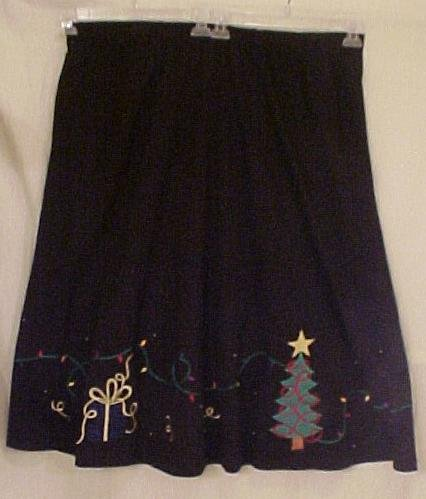 New Black Christmas Skirt Tree Present Lights Size 3X Plus Size Women Clothing 400541