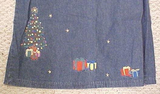 New Denim Winter Christmas Tree Long Skirt Size 16 Misses Clothing 400561