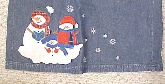 New Denim Winter Christmas Long Skirt Snowmen Size 18 Misses Clothing 400601
