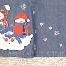 New Denim Winter Christmas Long Skirt Snowmen Size 18 Misses Clothing 400601