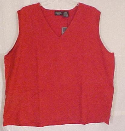 New Red V Neck Sweater Vest Sleeveless Top Size 26 28 Plus Size Women Clothing 811011 3