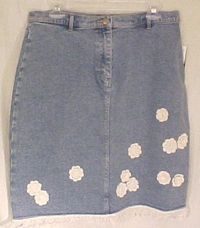 New Carole Little Sport Denim Jean Skirt Size 14 - 811121