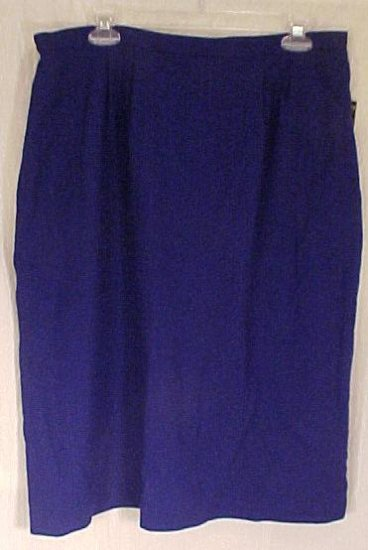 New Kasper Company Royal Blue Wool Skirt Size 16W 16 Plus Size Women's Clothing 811171