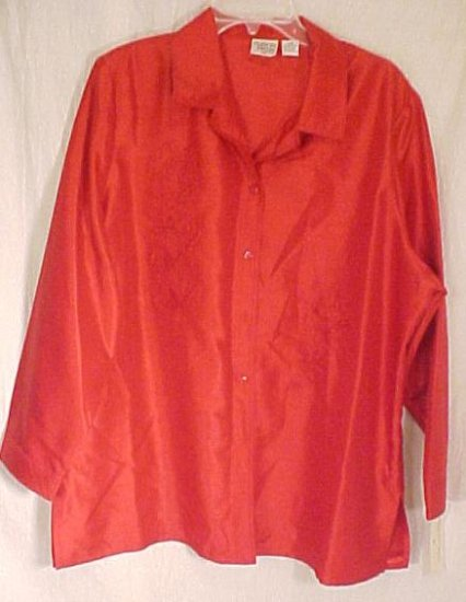New Dressy Red Embroidered Blouse Size 20W 20 Plus Size Women Clothing 811191