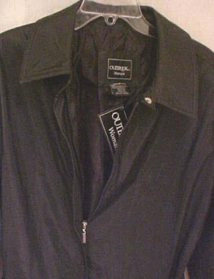 New Wet Silk Black Jacket Coat Size 2X 20 22 Plus Size Women's Clothing 811221
