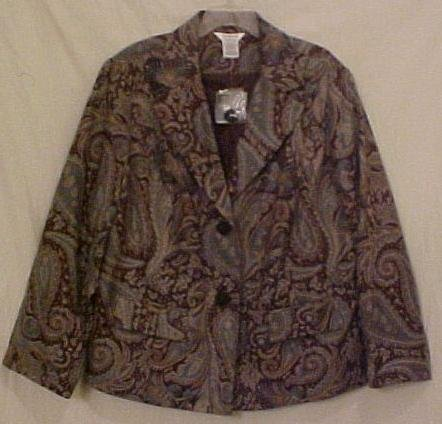 New Paisley Print Blazer Suit Jacket Size 22W 24W Plus Size Womens Clothing 811411