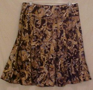 Paisley Chocolate Brown Skirt 16 Misses Career Wear Clothing 811521