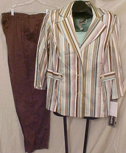 Suit Blazer Top Pants 3pc Plus Size Women 14 14W Plus Size Clothing 811211