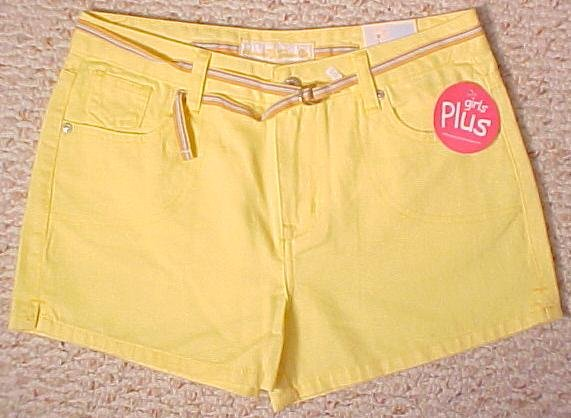 New Arizona Yellow Shorts Size 10.5 10+ Plus Size Girls Fashions 200431