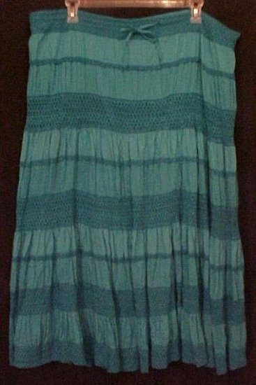 New Bohemian Style Skirt Teal KAS $108 Plus Size 1X 18 20 Plus Size Women Clothing 200751