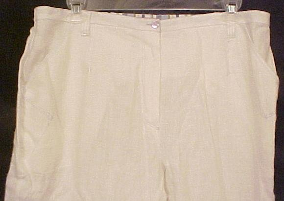 New Alain Weiz Linen Off White Pants Plus Size 20 20W Plus Size Women Clothing  200501