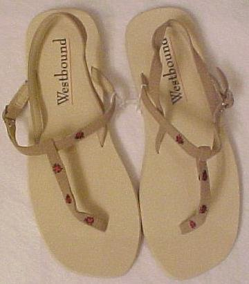 New Size XL 9.5 - 10.5 Tan Lady Bug Sandals Sandal Shoe 200631