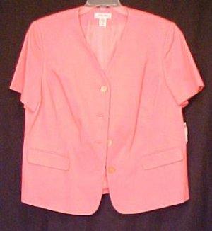 New Judith Hart Pink Short Sleeve Blazer Size 18W Plus Size Clothing 402791