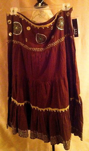 NEW Kas Designs Brown Beaded Skirt Size 2x  Plus Size Women Clothing 021 022