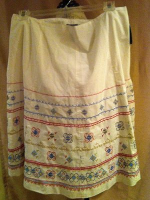 New Liz Claiborne size 16W White LInen Skirt Plus Size Women Clothing Fashions For Her 012
