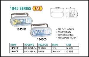 "4.5"" Silver Rectangular 55W Yellow Fog Lights Set"