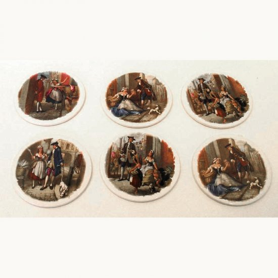 """London Cries"" 6 Rare Vintage Transfer Print Ceramics Tile Table Mats - H and R Johnson UK -"