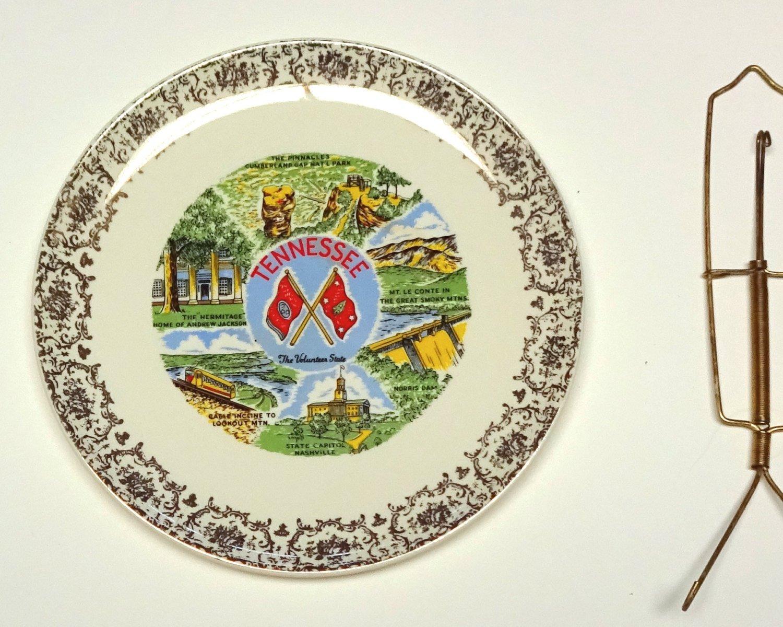 State Plate Tenessee, Vintage Souvenir Retro 1970s Decorative Plate Landmarks Plate.