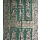 Wall Hanging Vintage Wall Art, Brocade Weaving, Varanasi India  hand woven Art gold green, 1970s