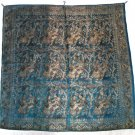 Varanasi Vintage Wall Hanging Art, Brocade Weaving, Handmade in  India  hand woven gold blue, 1970s