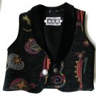 Vest Retro 1980 South West Style, Unique Artisan Vest with Real Leather Collar Like New.