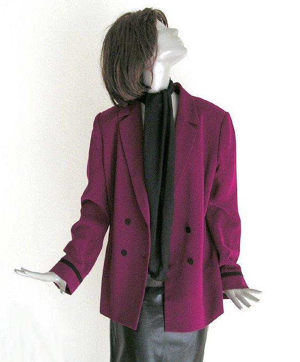 Retro Jacket, Vintage 1980s Jacket, Like New Suit, Dark Magenta Jacket, Size 10, Kasper.