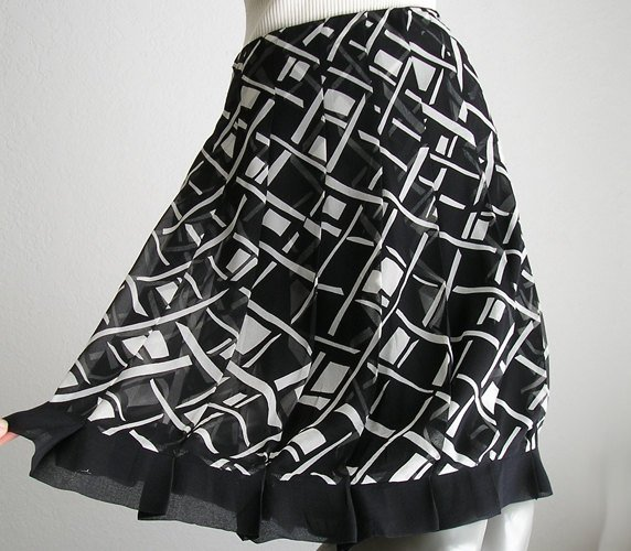 Vintage Sheer Silk Chiffon Skirt Black White Retro Ice Brand, Pleated Silk Chiffon M 8