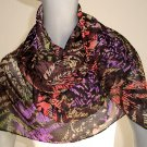 Sheer Multicolor Scarf , Chiffon Georgette, Handmade Wrap, Poly Print Scarf,