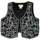 Black White Vest  Wool White Embroidery, retro early 1980s. Designer Carla Freeman, Size M