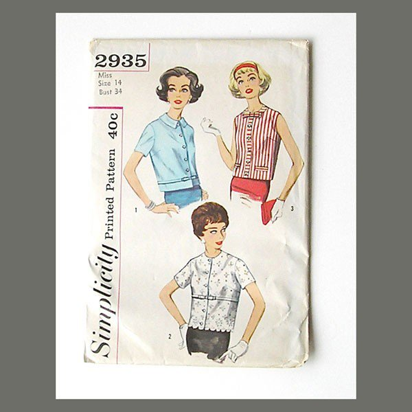 Vintage 1950s Blouse Pattern, Simplicity 2935, Size 13 Bust 34.