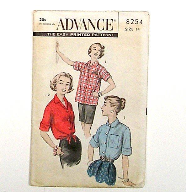 Vintage 1950s Authentic Blouse Shirt Women Pattern, Size 14, ADVANCE 9254