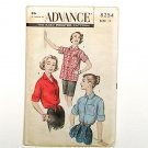 Vintage 1950s Authentic Blouse Shirt Women Pattern, Size 14, ADVANCE 9254