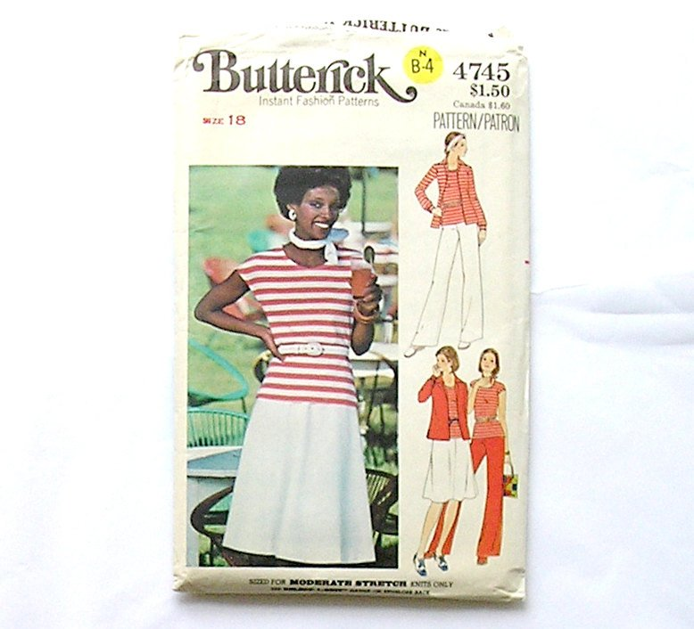 Butterick 4745 Sewing Pattern, Skirt Pants Misses Shirt t-Shirt Size 18, 1980's Fashion