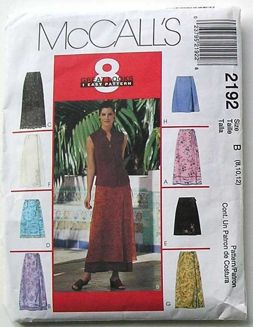 McCall's 2192, Sizes 8,10.12, Several Versions of a Great Looking Skirt in 1 Easy Pattern.
