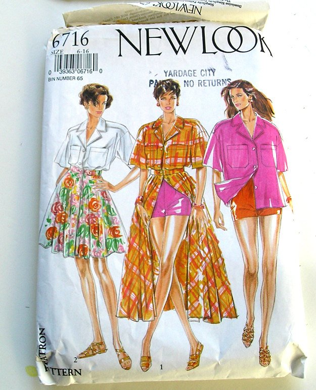Sewing Pattern, Summer Skirt Pattern, New Look 6716, Size 6-16 Pattern, Shirt Top Skirt Shorts